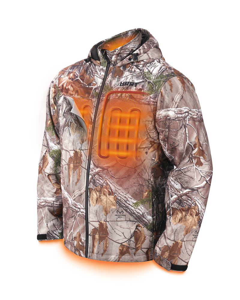 hart heated jacket with heating elements illuminated