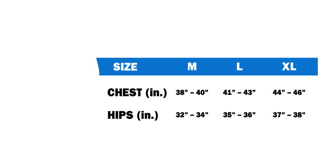 For best fit, measure body at specified points and match measurements to appropriate size range.