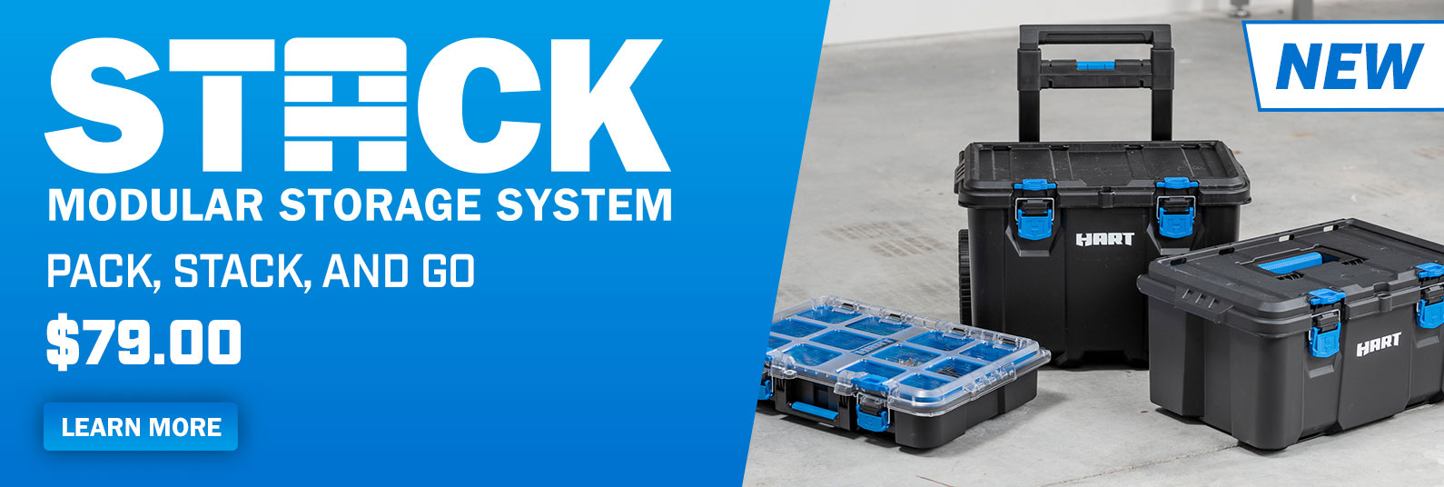 Pack, stack, and go with the new Stack Modular Storage System from HART; only at Walmart.